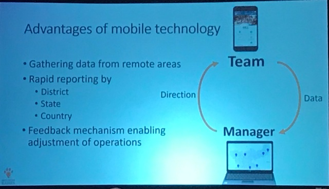 Close up of slide detailing the advantages of mobile technology with an infographic